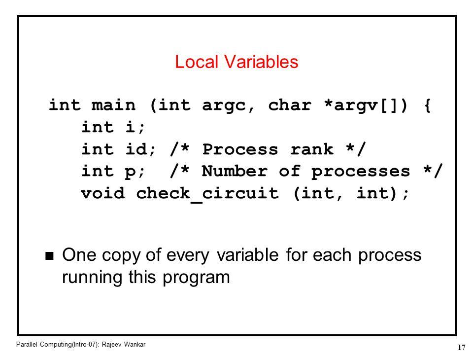 int main (int argc, char *argv[]) { int i; int id; /* Process rank */
